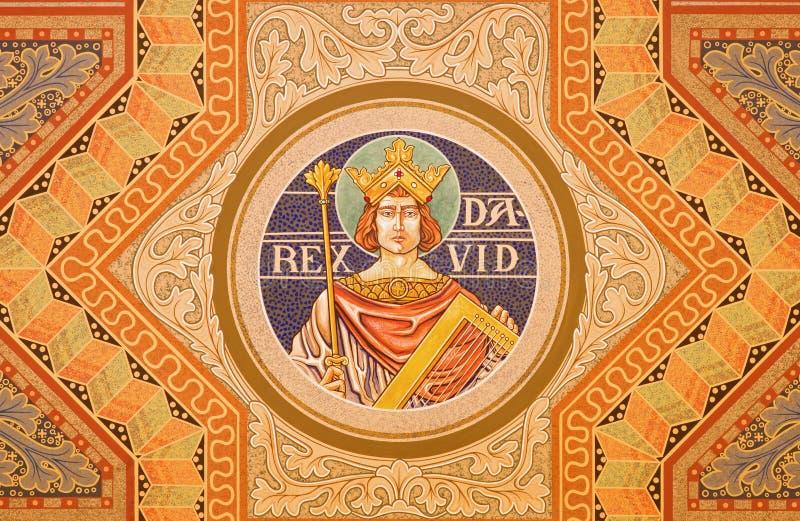 Jérusalem - le Roi David Peinture sur le plafond de l'église luthérienne évangélique de l'ascension photo stock