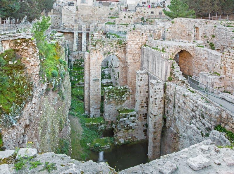Jérusalem - les ruines de la piscine de Bethesda image stock