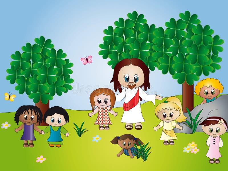 Jésus avec des enfants illustration libre de droits