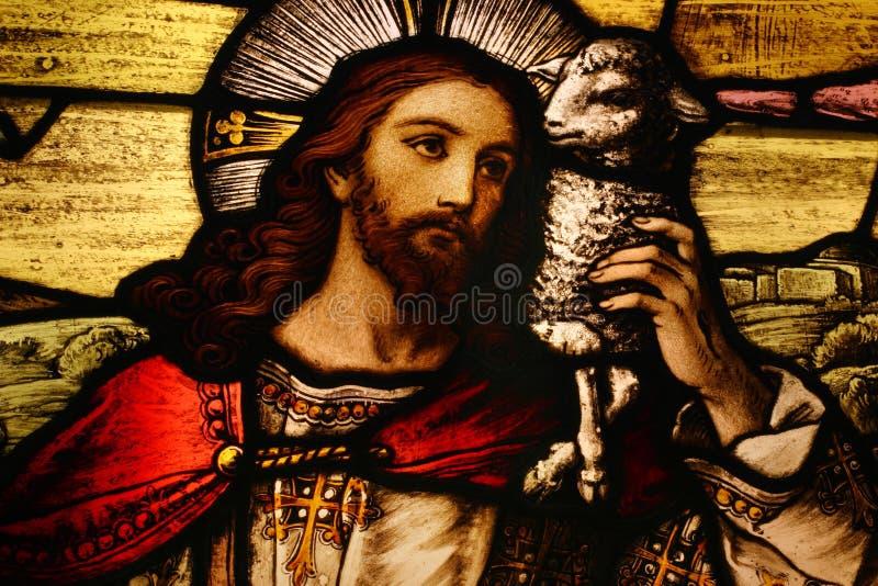 Jésus avec l'agneau photographie stock