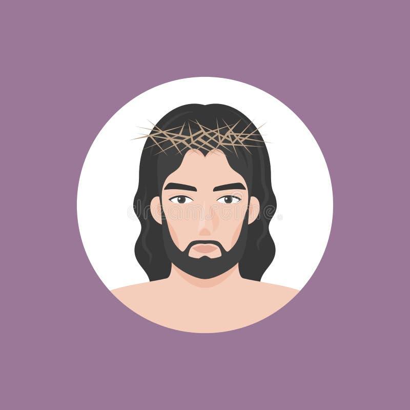 Jésus-Christ avec la tête des épines illustration de vecteur