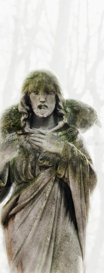 Jésus-Christ - le bon berger (composition en art) image libre de droits