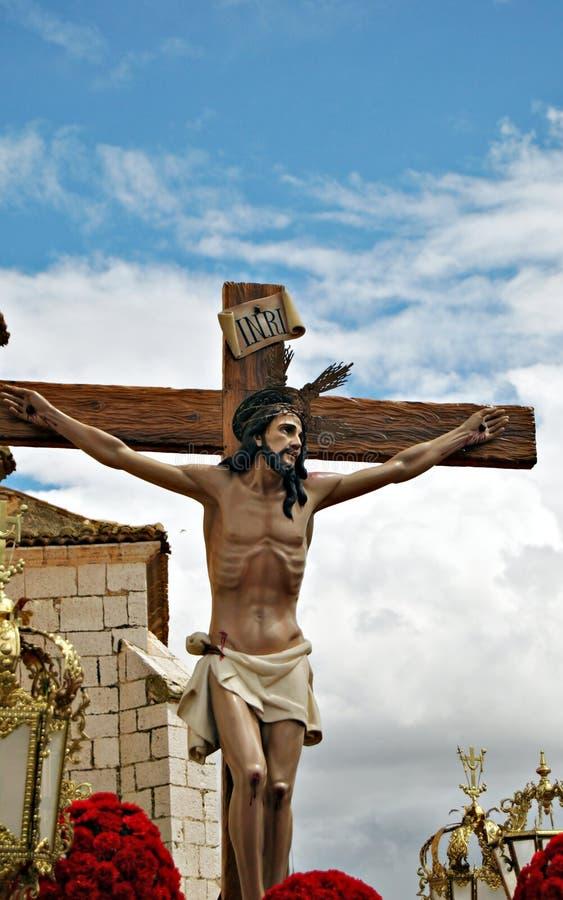 Jésus-Christ sur la croix image stock