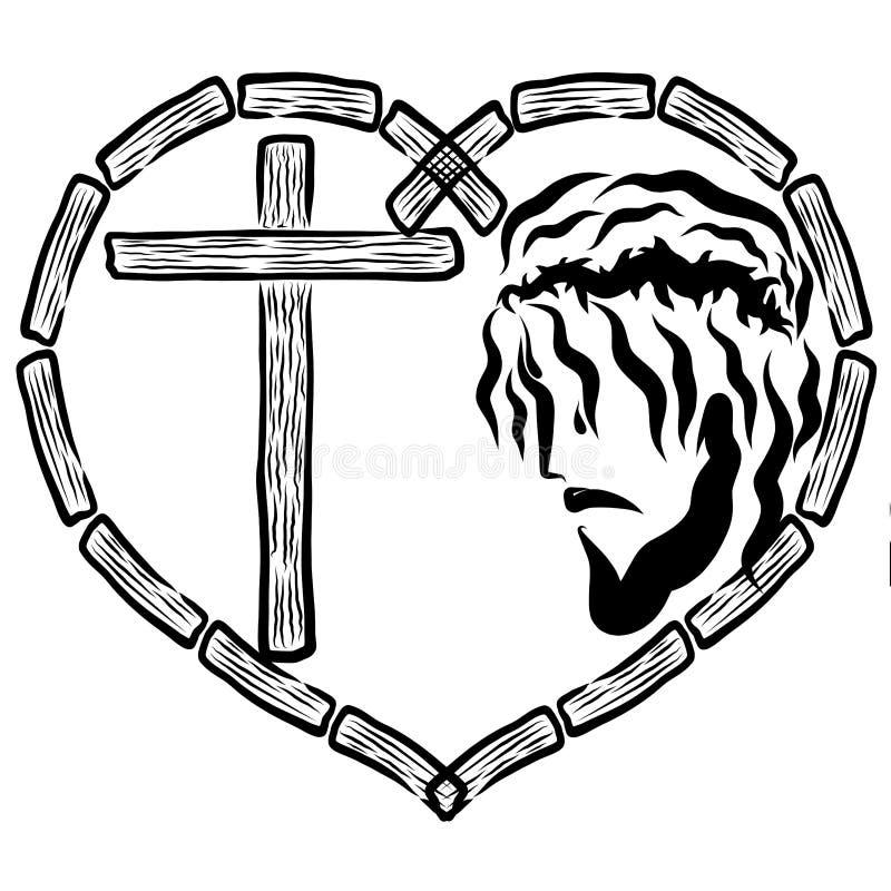 Jésus dans la couronne des épines et la croix au coeur des barres en bois images stock