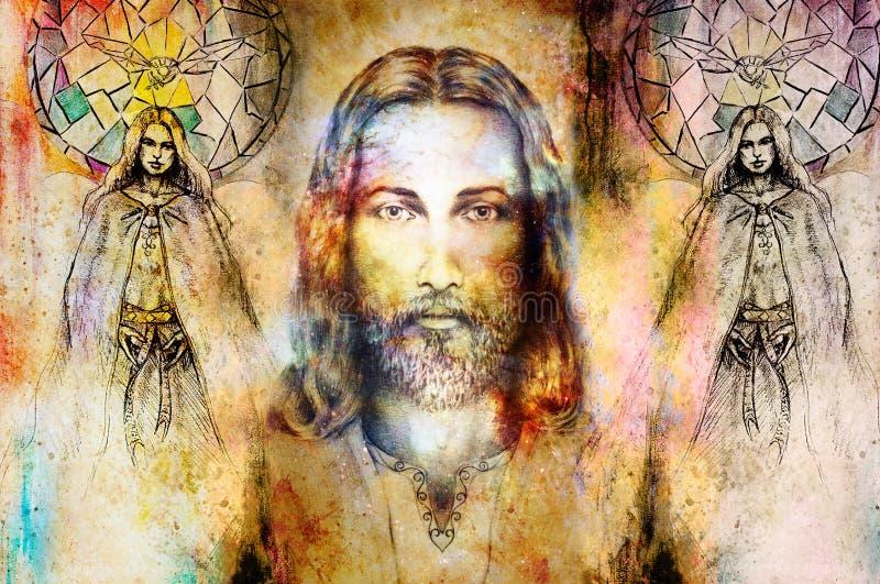 Jésus et bel ange étant avec la colombe et le brin, concept spirituel Jésus font face dans l'espace cosmique illustration de vecteur
