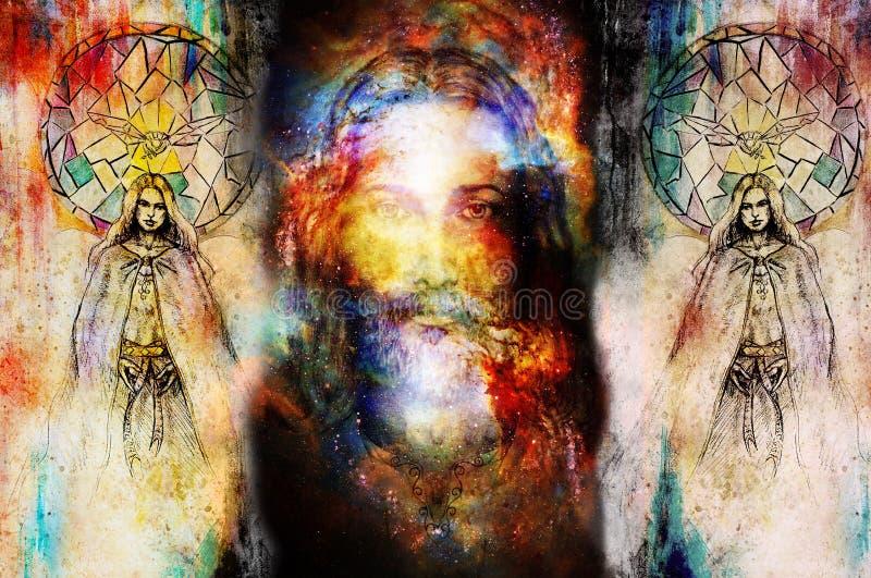 Jésus et bel ange étant avec la colombe et le brin, concept spirituel Jésus font face dans l'espace cosmique illustration libre de droits
