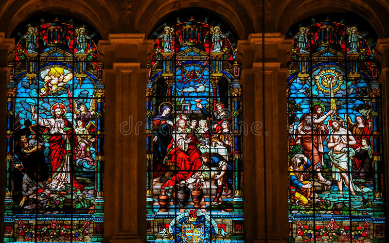 Jésus et Lucifer, Jésus chez Cana et baptême par St John image stock