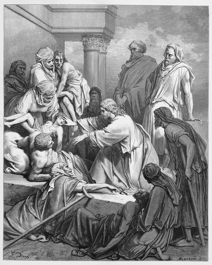 Jésus guérissant dans la terre de Gennesaret photographie stock libre de droits