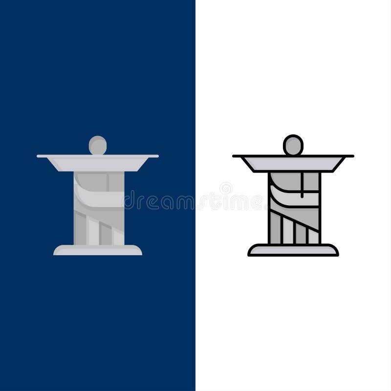 Jésus, le Christ, monument, icônes de point de repère L'appartement et la ligne icône remplie ont placé le fond bleu de vecteur illustration stock