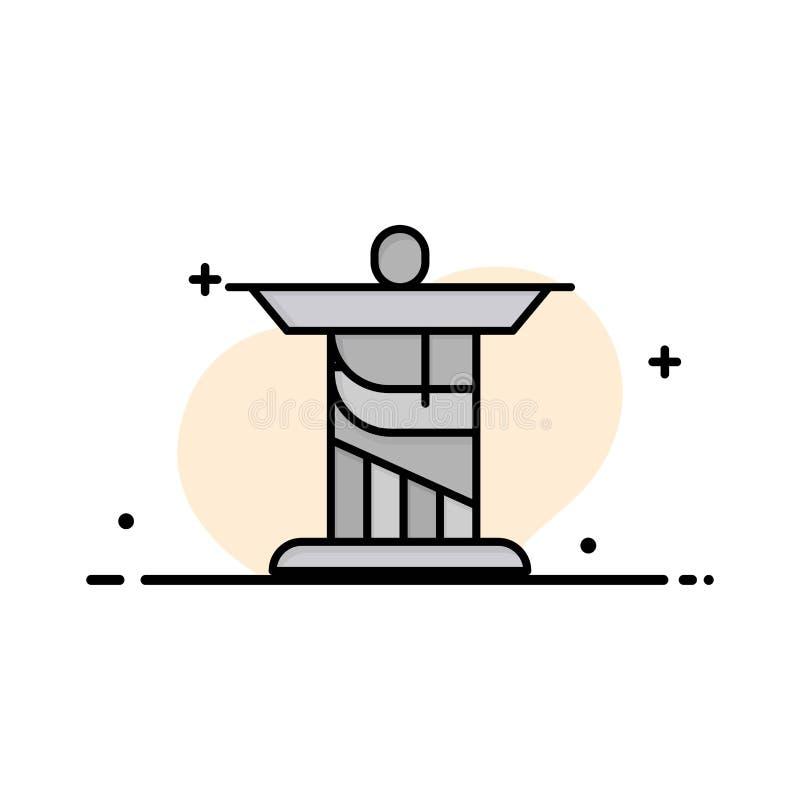 Jésus, le Christ, monument, ligne plate d'affaires de point de repère a rempli calibre de bannière de vecteur d'icône illustration de vecteur