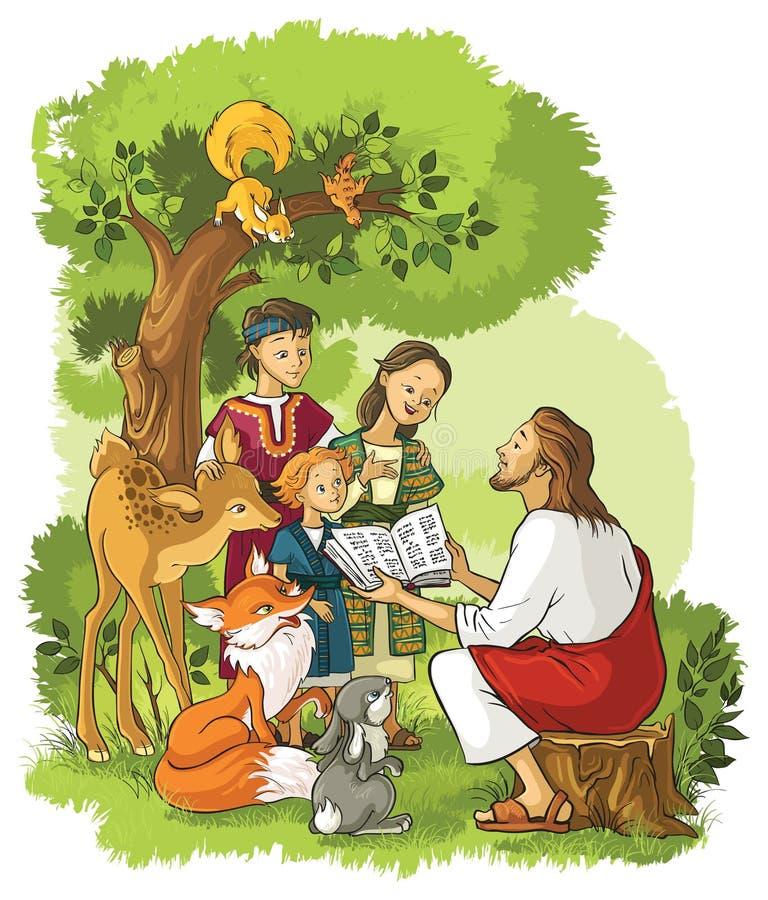 Jésus lisant la bible aux enfants et aux animaux illustration de vecteur