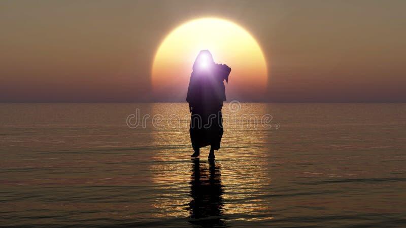 Jésus marche sur l'eau, les miracles de Jesus Christ, le prophète de Dieu, venir de Jésus du ciel le soir d'apocalypse, 3D illustration stock