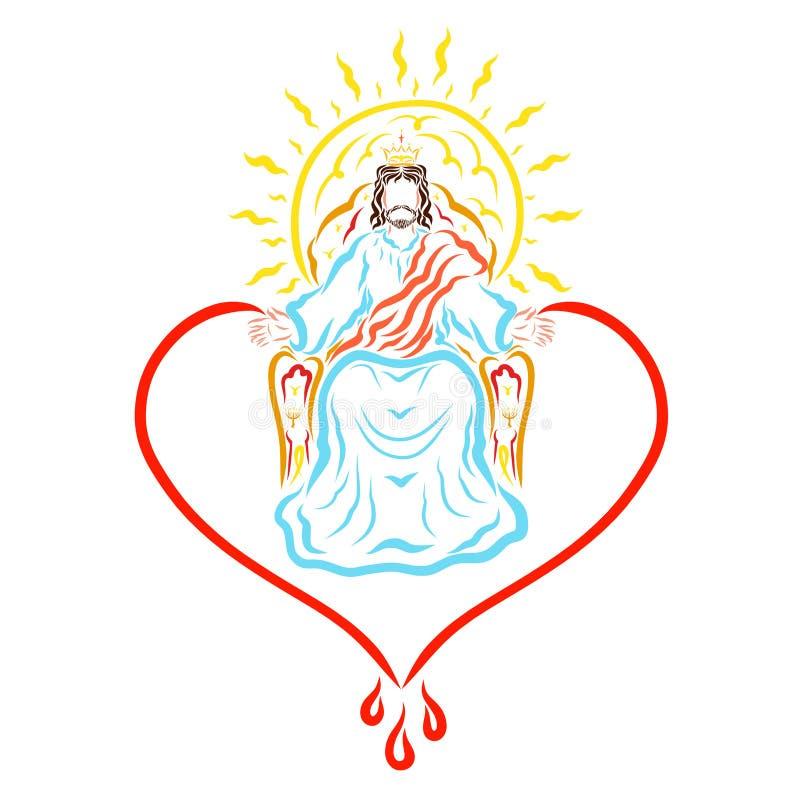 Jésus régnant sur le trône, le coeur, le soleil et le sang curatif illustration de vecteur