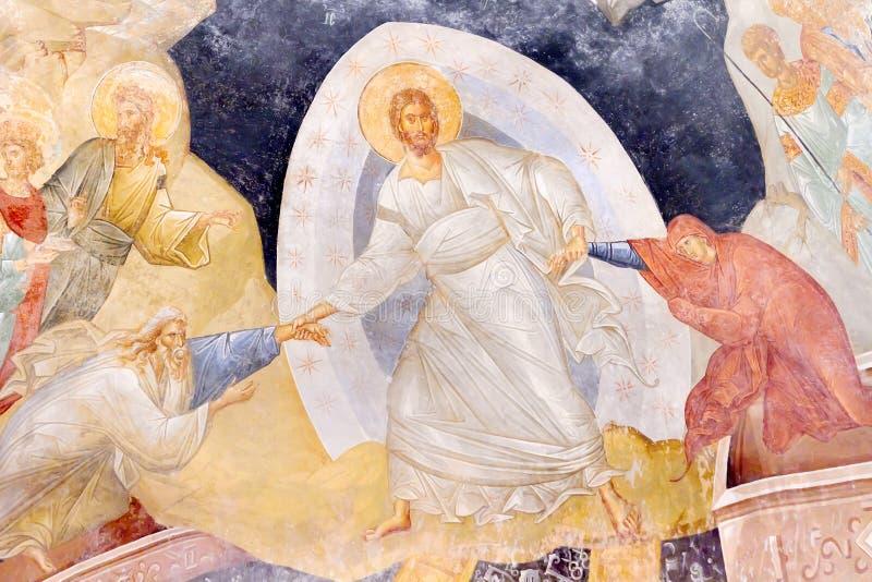 Jésus soulevant Adam et Eve images libres de droits