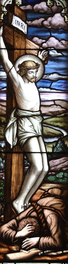 Jésus sur une croix image libre de droits