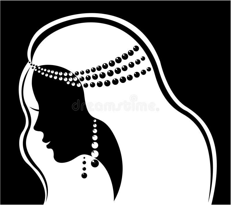 Jóia da forma. Mulher luxuosa bonita da silhueta ilustração do vetor