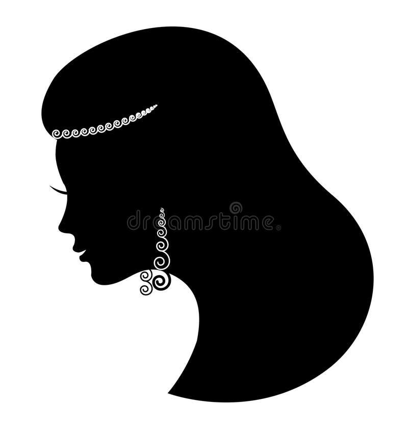 Jóia da forma. Mulher luxuosa bonita da silhueta ilustração royalty free
