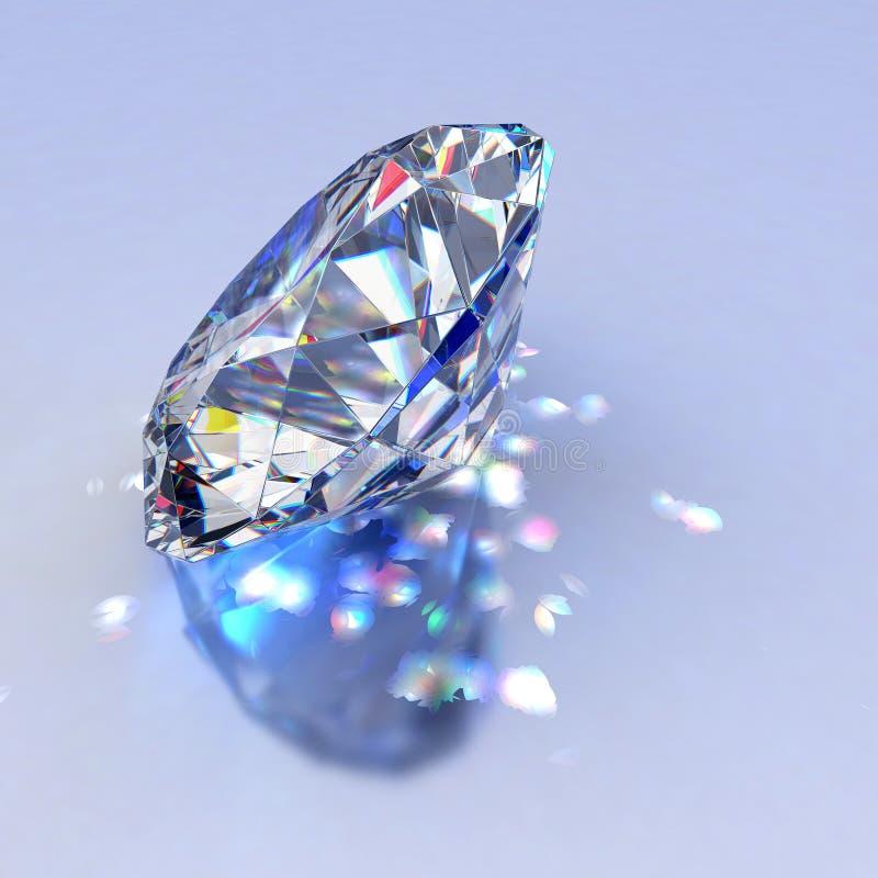Jóia do diamante com reflexões ilustração do vetor