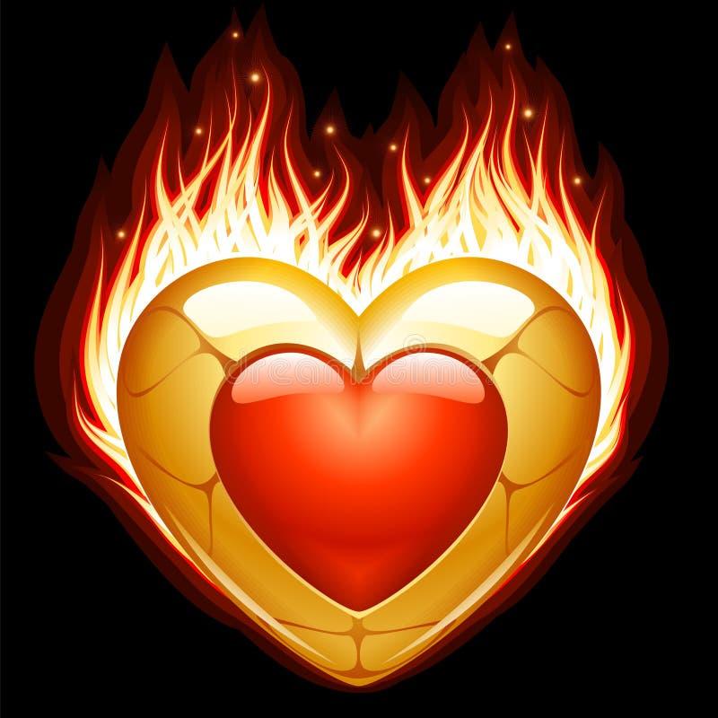 Jóia na forma do coração no incêndio ilustração royalty free