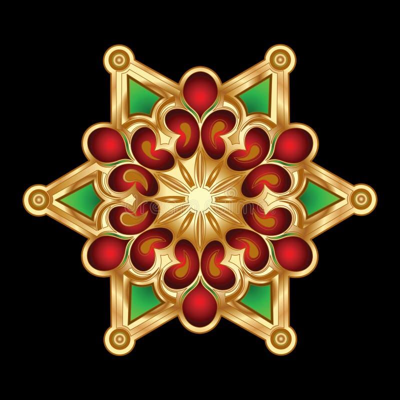 Jóia vermelha verde do floco de neve do ouro do Natal. ilustração do vetor