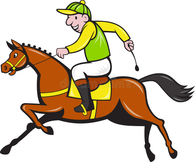 Jóquei dos desenhos animados e lado da corrida de cavalos ilustração stock