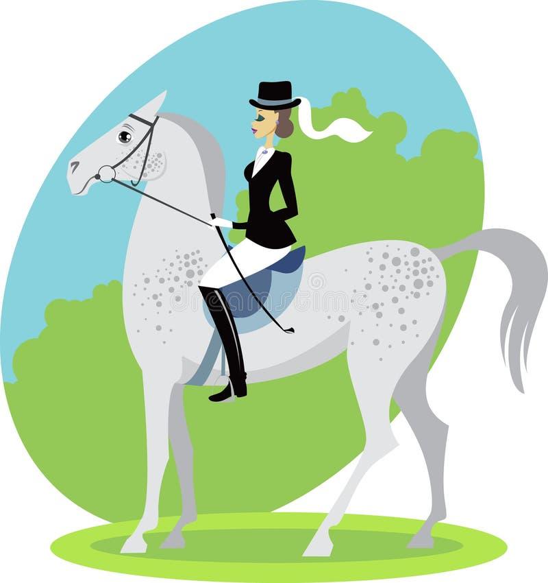 Jóquei em um cavalo ilustração do vetor