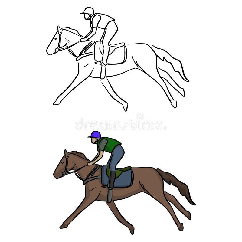 Jóquei na sagacidade tirada mão da garatuja do esboço da ilustração do vetor do cavalo ilustração stock