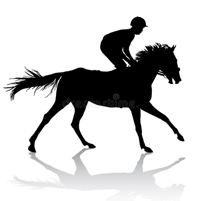 Jóquei no cavalo ilustração do vetor