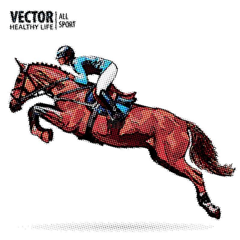 Jóquei no cavalo campeão Corrida de cavalos Esporte equestre Cavalo de salto da equitação do jóquei esporte Vetor do estilo do po ilustração stock