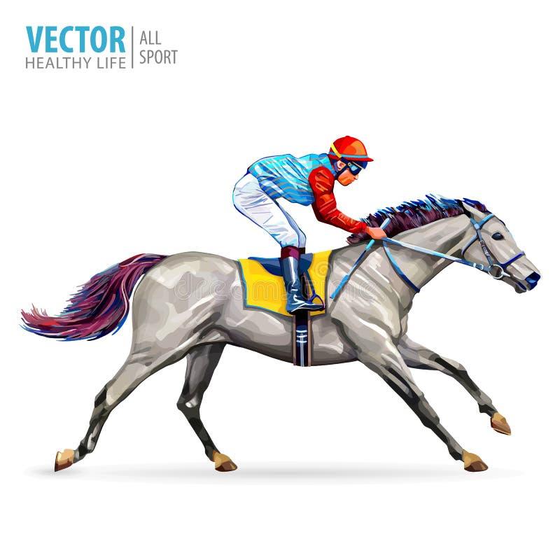 Jóquei no cavalo campeão Cavalo Racing hippodrome racetrack Salte a pista Corrida de cavalos Cavalo de competência que vem primei ilustração stock