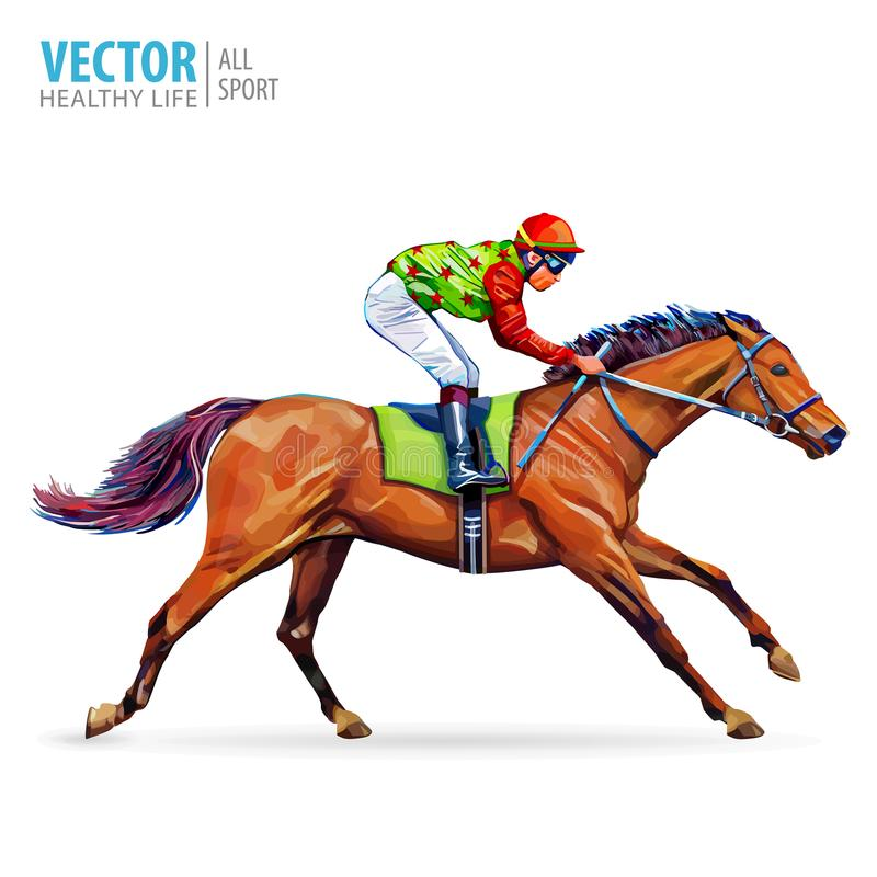 Jóquei no cavalo campeão Cavalo Racing hippodrome racetrack Salte a pista Corrida de cavalos Cavalo de competência que vem primei ilustração do vetor