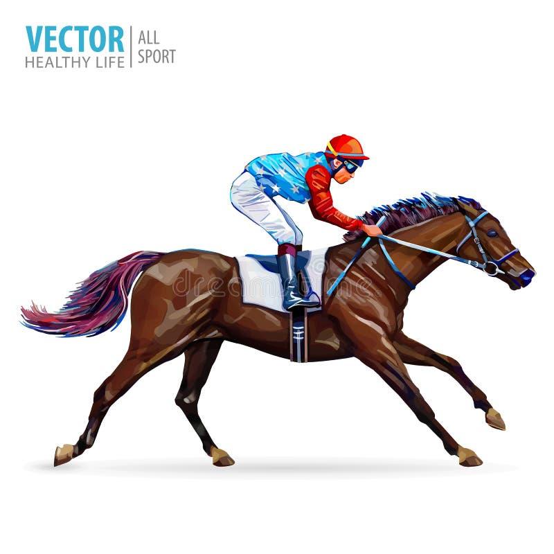 Jóquei no cavalo campeão Cavalo Racing hippodrome racetrack Salte a pista Corrida de cavalos Ilustração do vetor ilustração do vetor