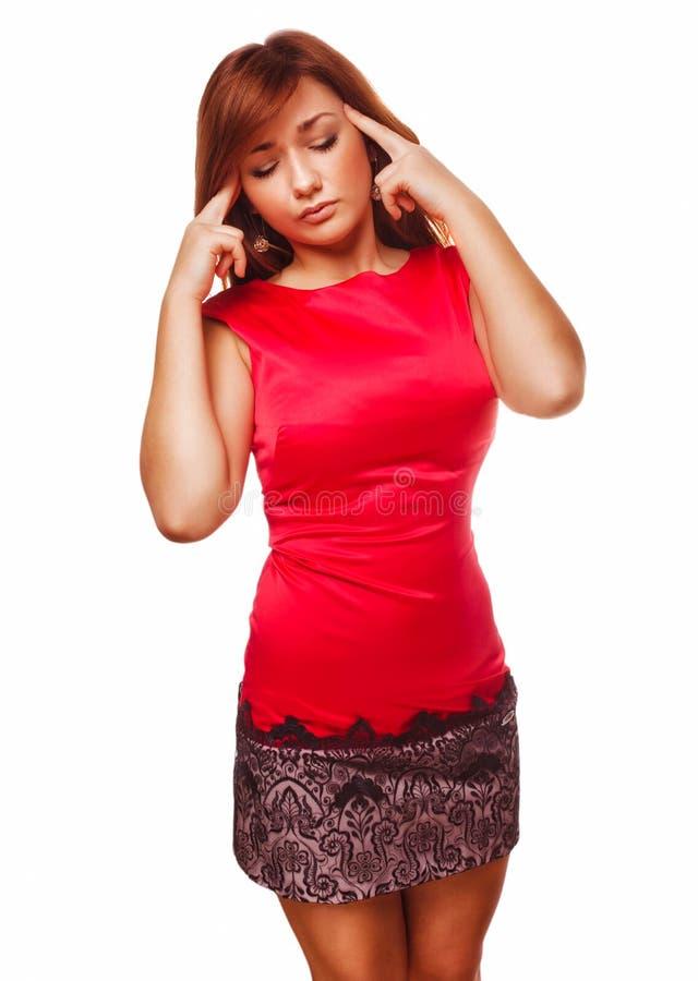 Jóvenes de la mujer bajo dolor de la jaqueca del dolor de cabeza de la tensión foto de archivo libre de regalías