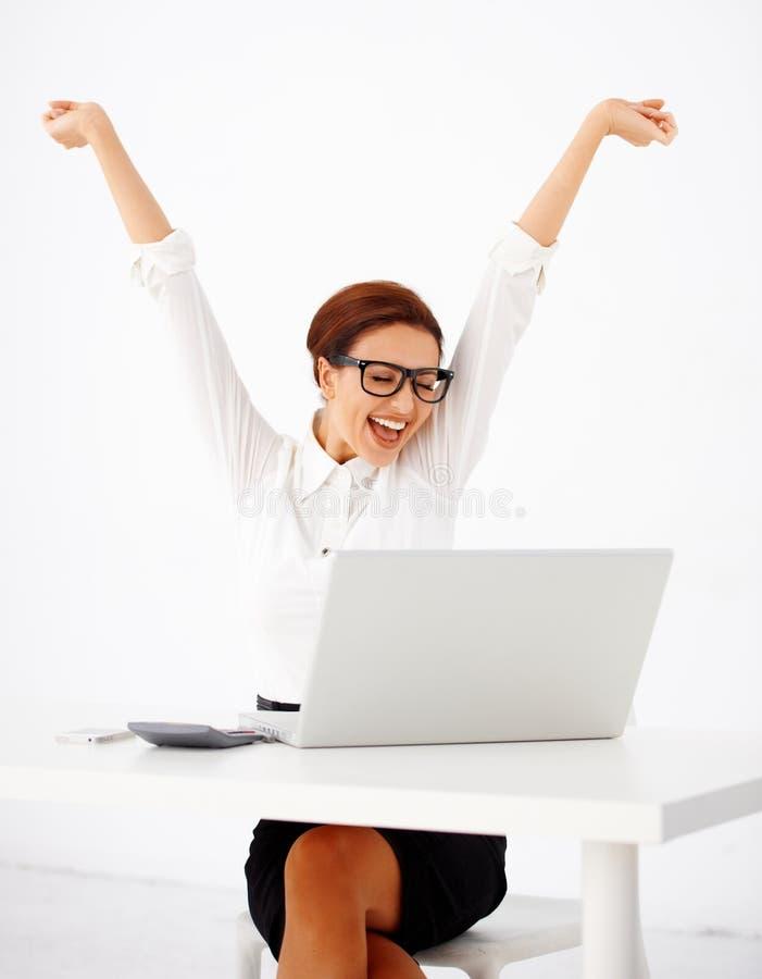 Júbilo da mulher de negócios fotos de stock royalty free