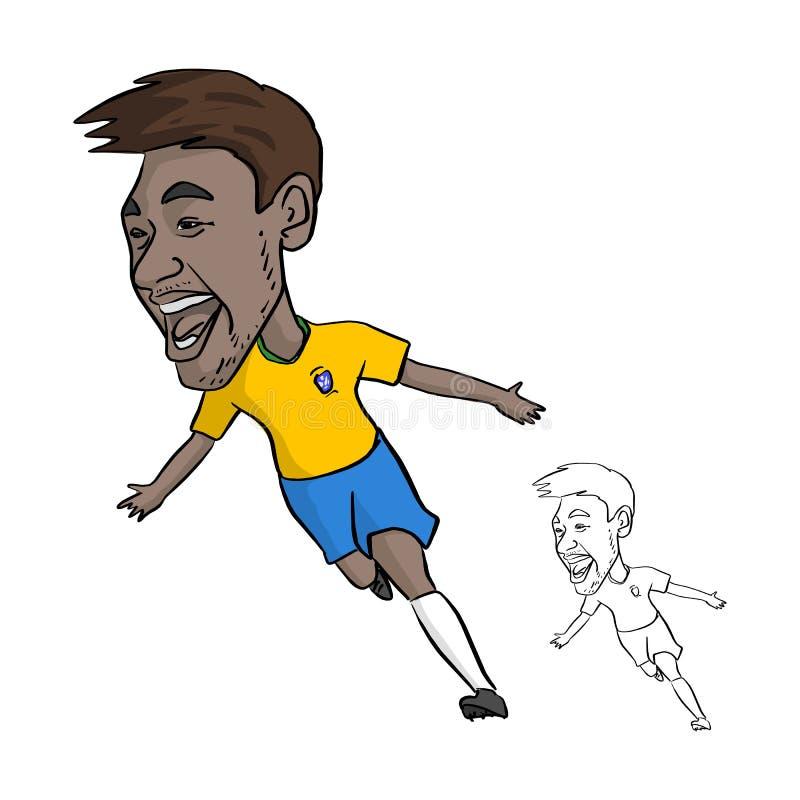 Júnior de Neymar na caricatura nacional do molde do jérsei de Brasil junho, 20 ilustração royalty free