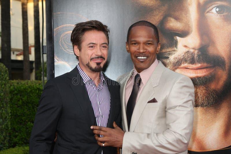 Jamie Foxx, júnior de Robert Downey imagens de stock