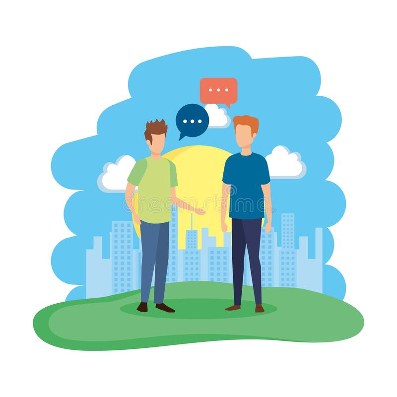 Júntese de hombres con la burbuja del discurso en el campo ilustración del vector
