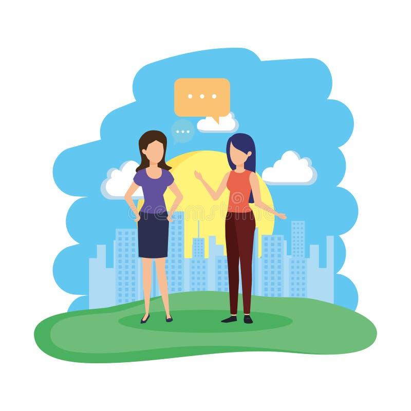Júntese de muchachas con la burbuja del discurso en el campo stock de ilustración