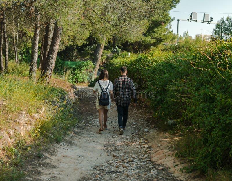 Júntese en un bosque, ellos están caminando de común acuerdo imagen de archivo libre de regalías