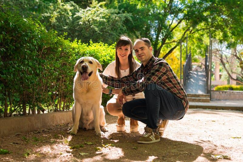 Júntese en un parque, ellos están con un perro de Labrador imagen de archivo