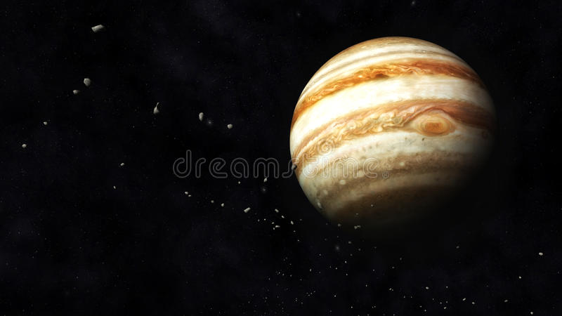 Júpiter e asteroides ilustração stock