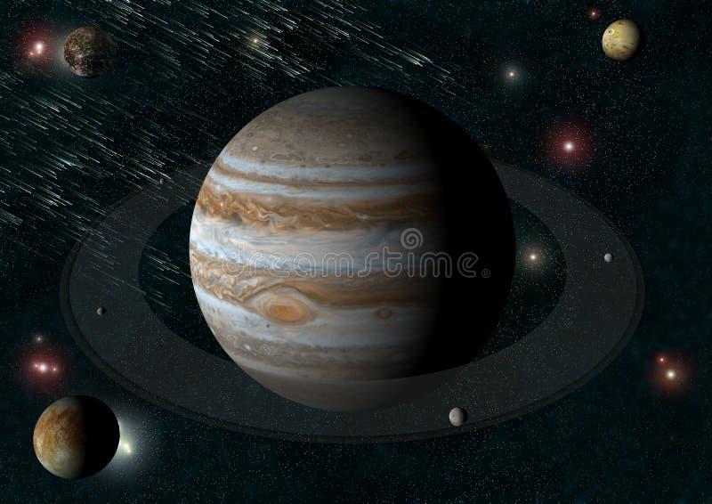 Júpiter y es lunas ilustración del vector