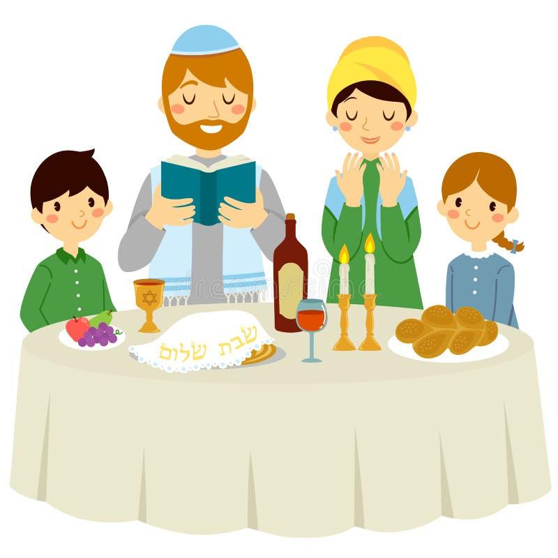 Jüdische Familie auf Shabbat-Vorabend lizenzfreie abbildung