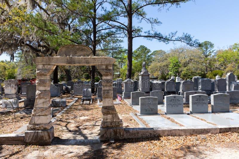 Jüdischer Abschnitt von historischem Bonaventure Cemetery stockbilder