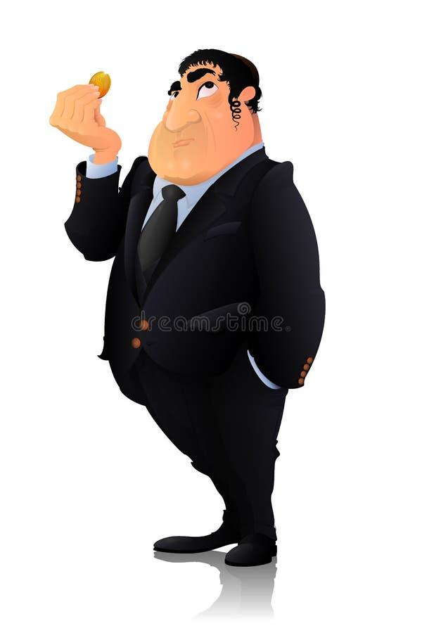 Jüdischer Bankerreicher mit goldener Münze stockfotografie