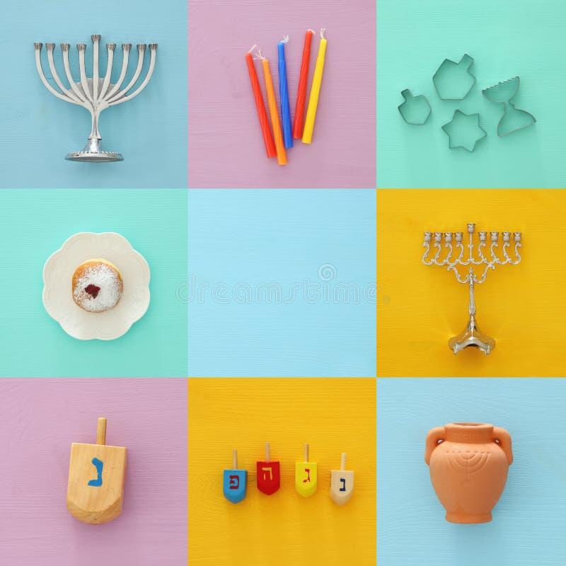 Jüdischer Feiertag Chanukka-Collagenhintergrund mit traditioneller spinnig Spitze, menorah u. x28; traditionelles candelabra& x29 lizenzfreies stockbild