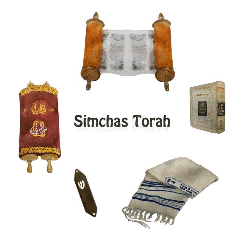 Jüdischer Feiertag, Simchat Thora-Übersetzung: 'Freuen mit des Torah ' Rollen von Torah lizenzfreie abbildung