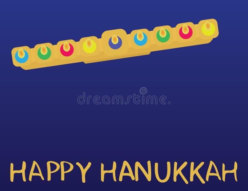 Jüdischer Feiertagsgruß Chanukkas GLÜCKLICHER CHANUKKA-Gruß und Draufsicht Menora über blauen Hintergrund lizenzfreie abbildung