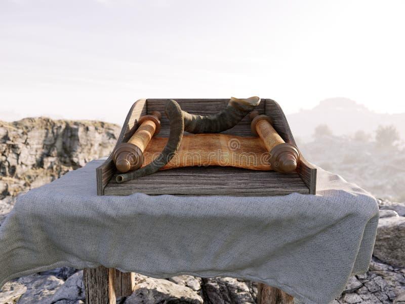 Jüdischer Feiertagshintergrund mit alter Rolle tora und Landschaftsdes konzeptfotos lizenzfreie stockfotografie
