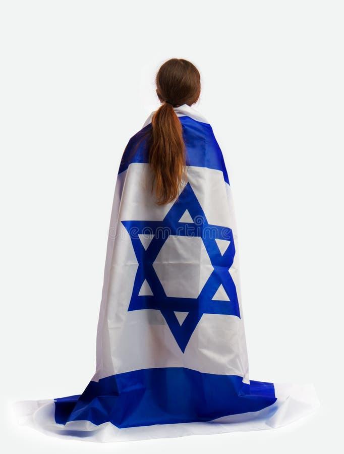 Jüdisches Mädchen mit einer Flagge stockfotos